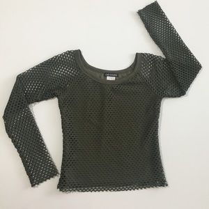 L.A. Movers Army Green Mesh Top